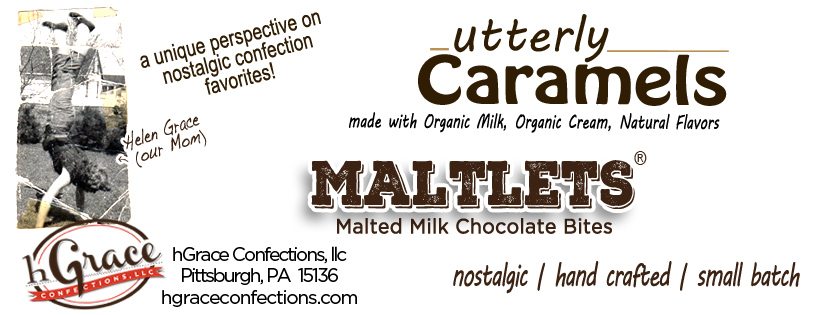 hGrace Confections A Unique Perspective on Nostalgic Confection Favorites. utterly Caramels made with Organic Milk, Organic Cream, Butter and Natural Flavors. MALTLETS® are Malted Milk Chocolate Bites, enrobed in decadent Milk or Semisweet Chocolates.