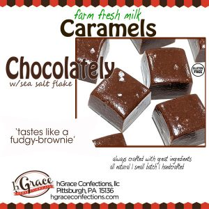 Rich fudgy brownie like Chocolately caramels made with farm fresh milk and a slight pinch of sea sal