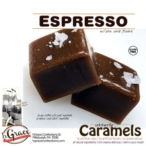Rich ESPRESSO Caramels with a smooth authentic taste, because it is!
