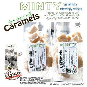 farm fresh milk MinTY Caramels with sea salt flake and a refreshing MINT taste of yesteryear.