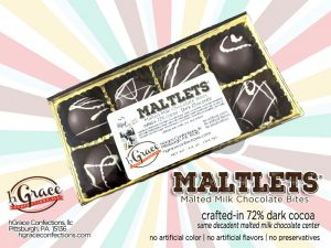 creamy rich malted MILK Chocolate centers crafted-in (hand dipped) a 72% dark chocolate!
