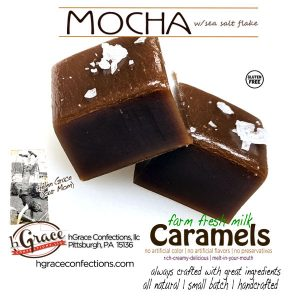 fresh milk, rich Mocha Caramels with a smooth authentic taste, because it is, topped with a pinch of